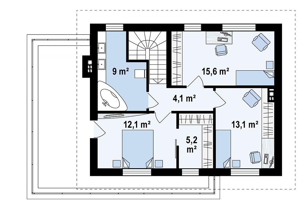 Обновленный вариант Z29 с гаражом и комнатой на первом этаже план помещений 2