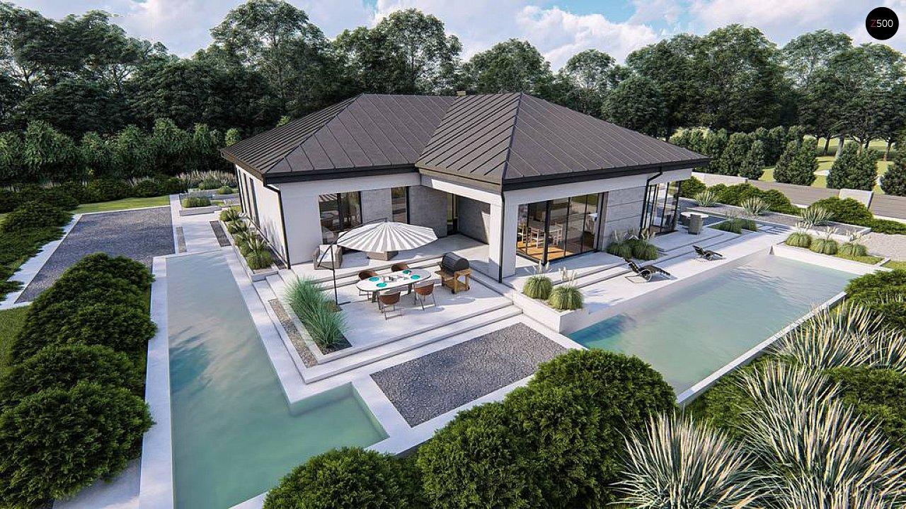 Одноэтажный современный проект дома с многоскатной крышей и гаражом на две машины. 5