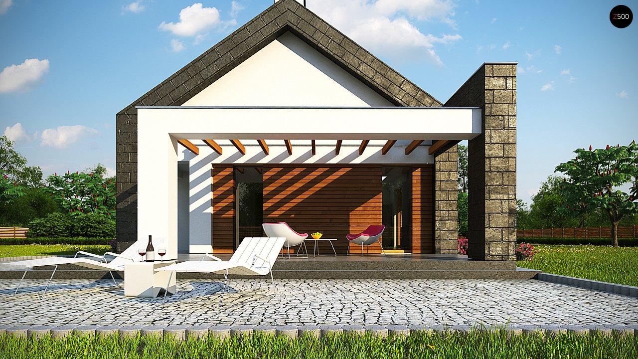 Современный дом с двускатной крышей на узком участке - фото 6