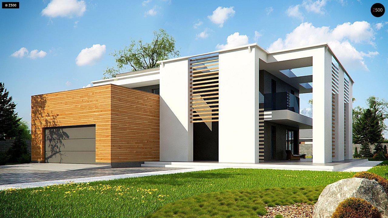 Современный двухэтажный дом с большим остеклением и гаражом на две машины 1
