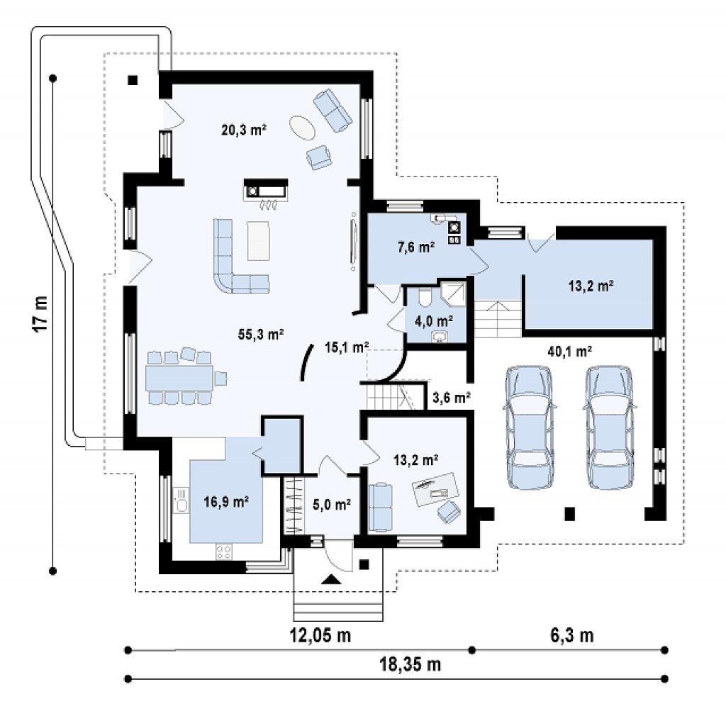 Добротный комфортабельный особняк с гаражом для двух авто. план помещений 1