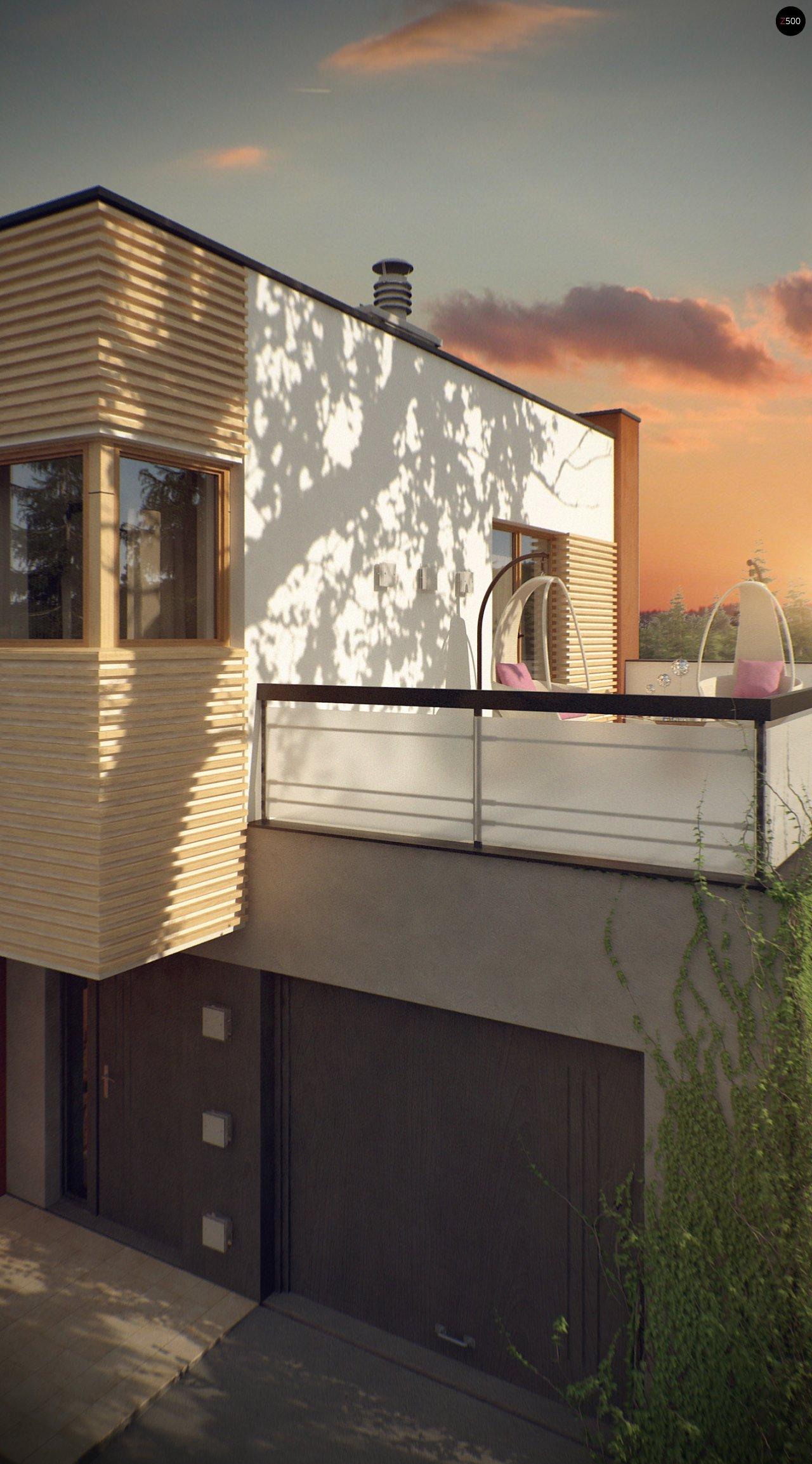 Двухэтажный дом в модернистского дизайна с гаражом и террасой на верхнем этаже. 9