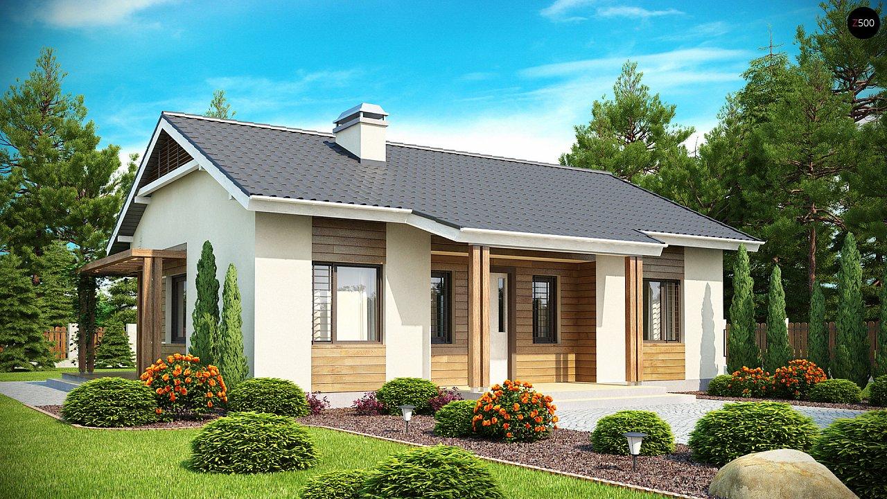 Проект компактного одноэтажного дома, экономичного как в строительстве, так и в эксплуатации. 1