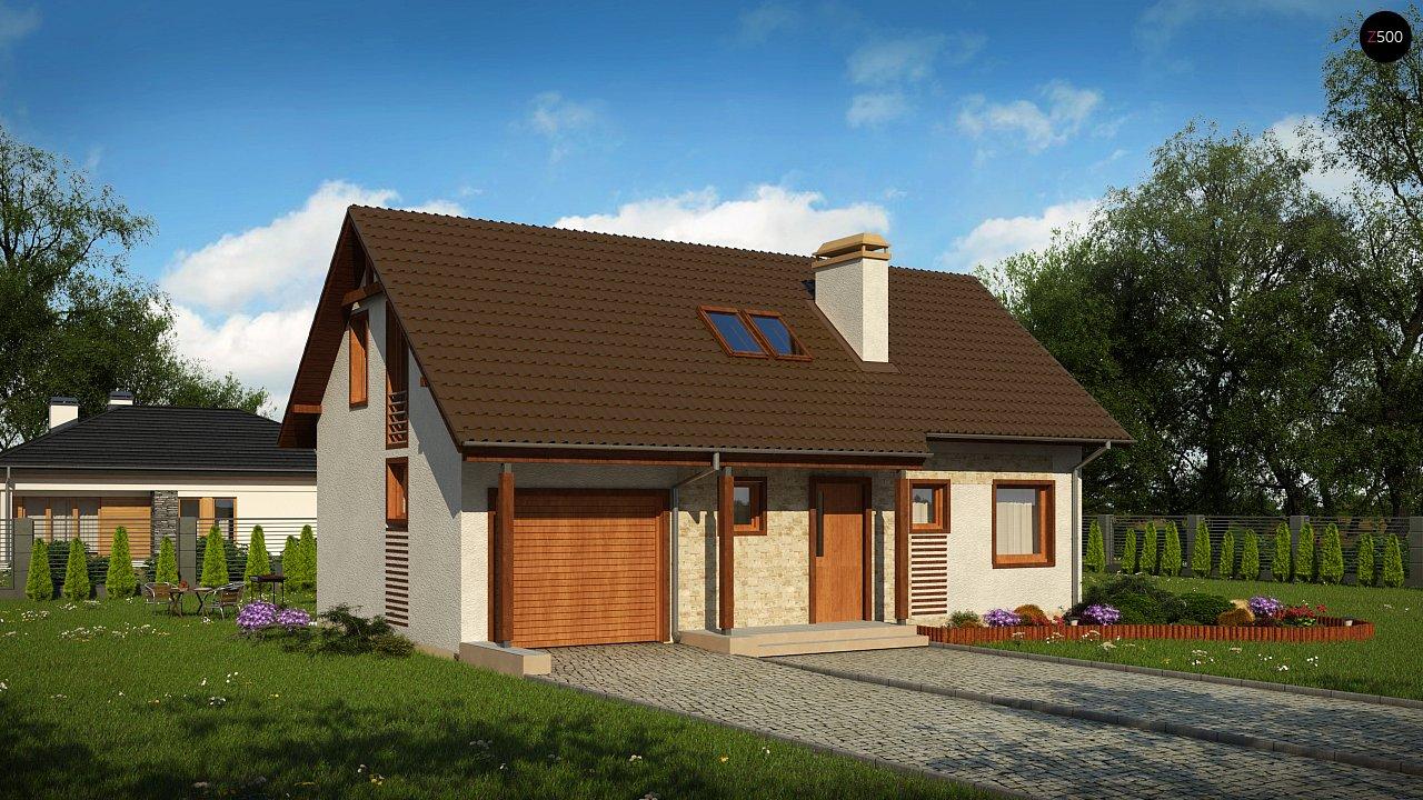 Версия проекта дома Z71 с гаражом, пристроенным слева. 1