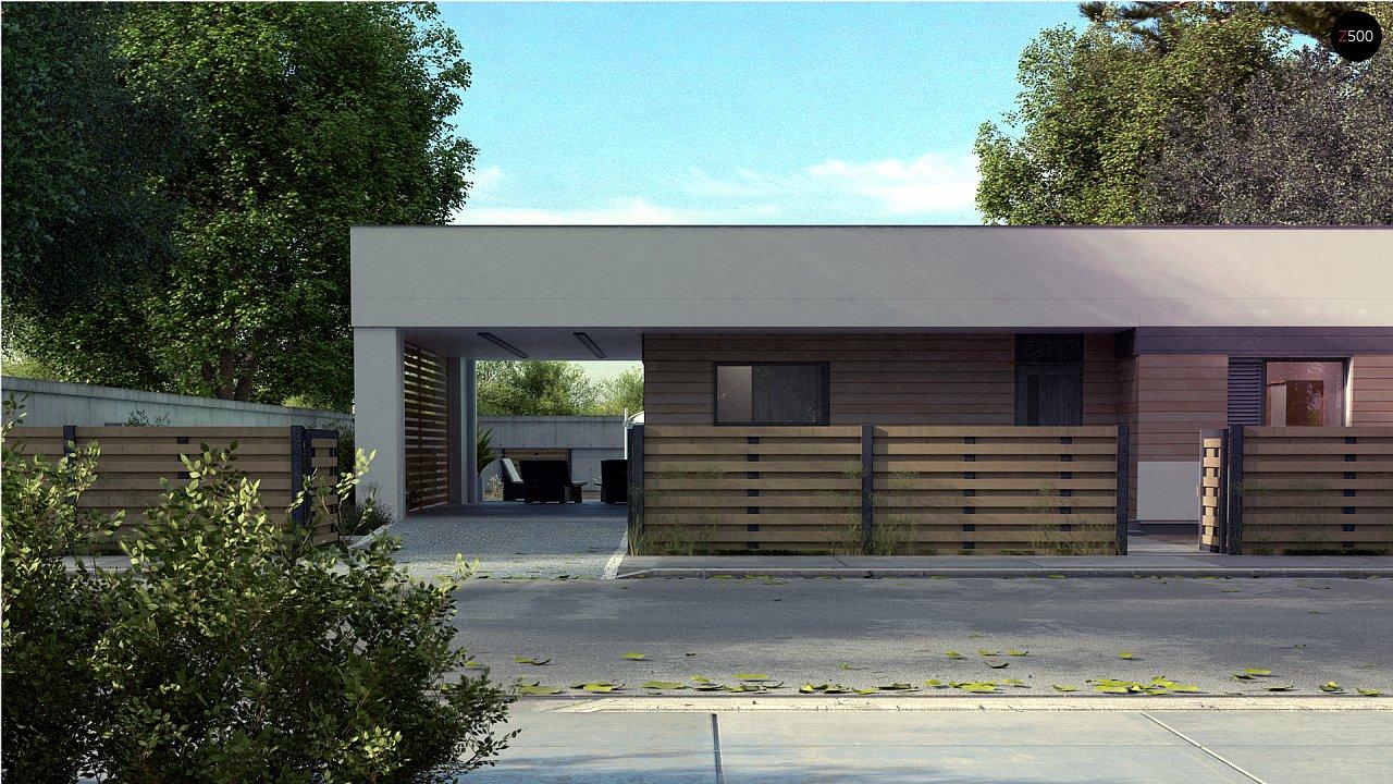 Современный одноэтажный дом хай-тек с навесом для автомобиля 1