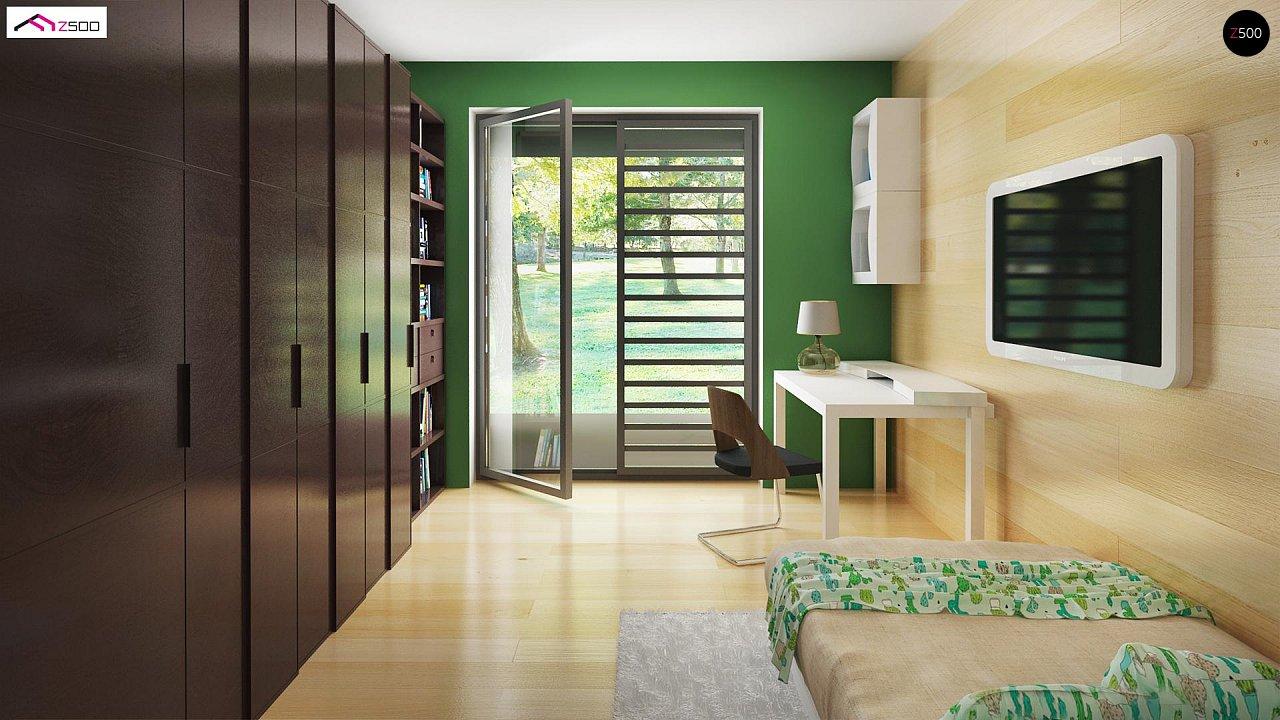 Стильный одноэтажный дом с панорамным остеклением в гостиной - фото 14