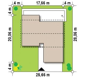 Комфортный функциональный одноэтажный дом простой формы и с гаражом для двух авто. план помещений 1