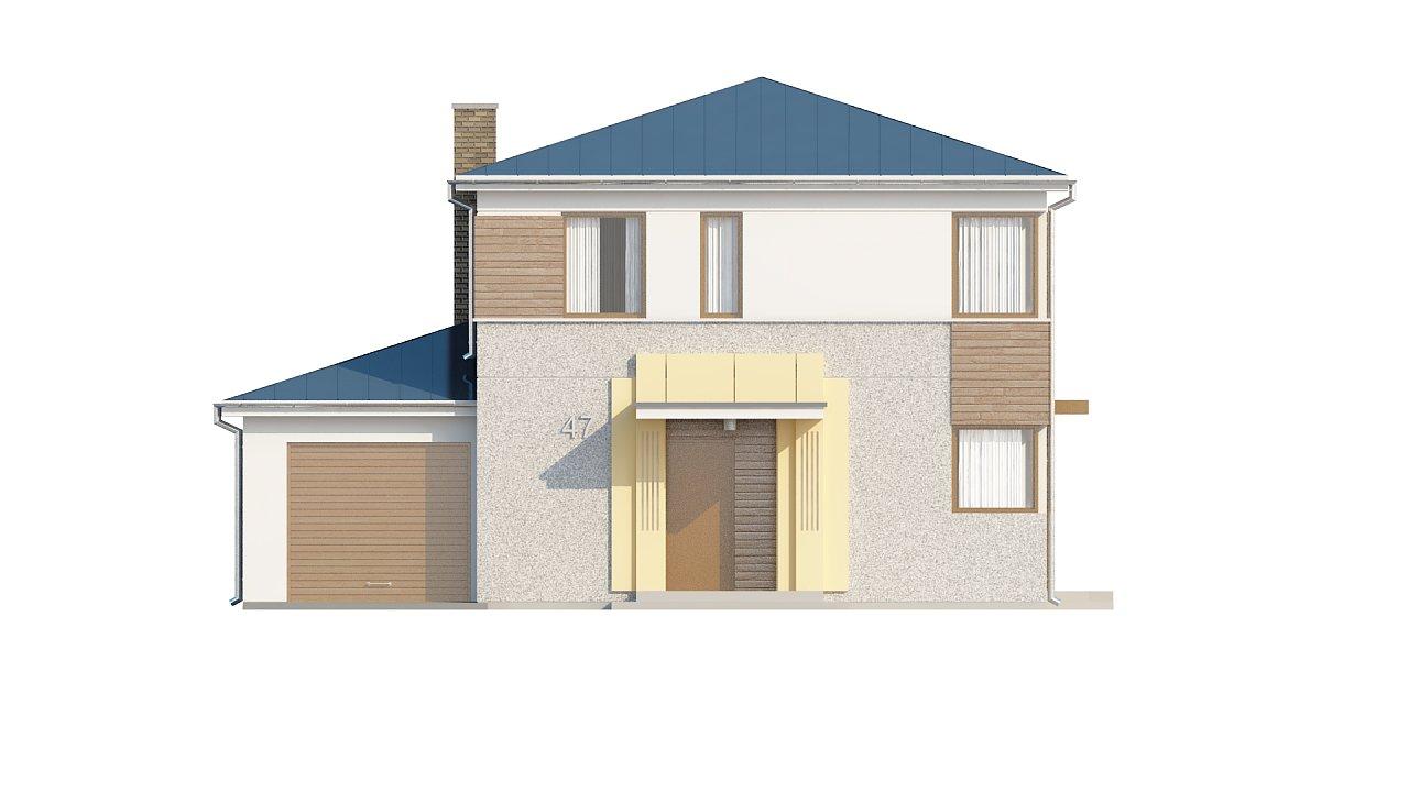 Двухэтажный дом, сочетающий традиционные формы и современный дизайн, с тремя спальнями и гаражом. 21