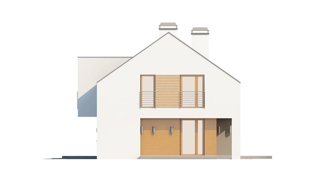 Современный функциональный дом с гаражом, с оригинальным выступом над входом. 24
