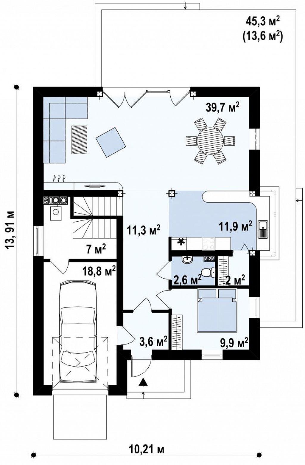 Стильный комфортный дом современного дизайна со встроенным гаражом. план помещений 1