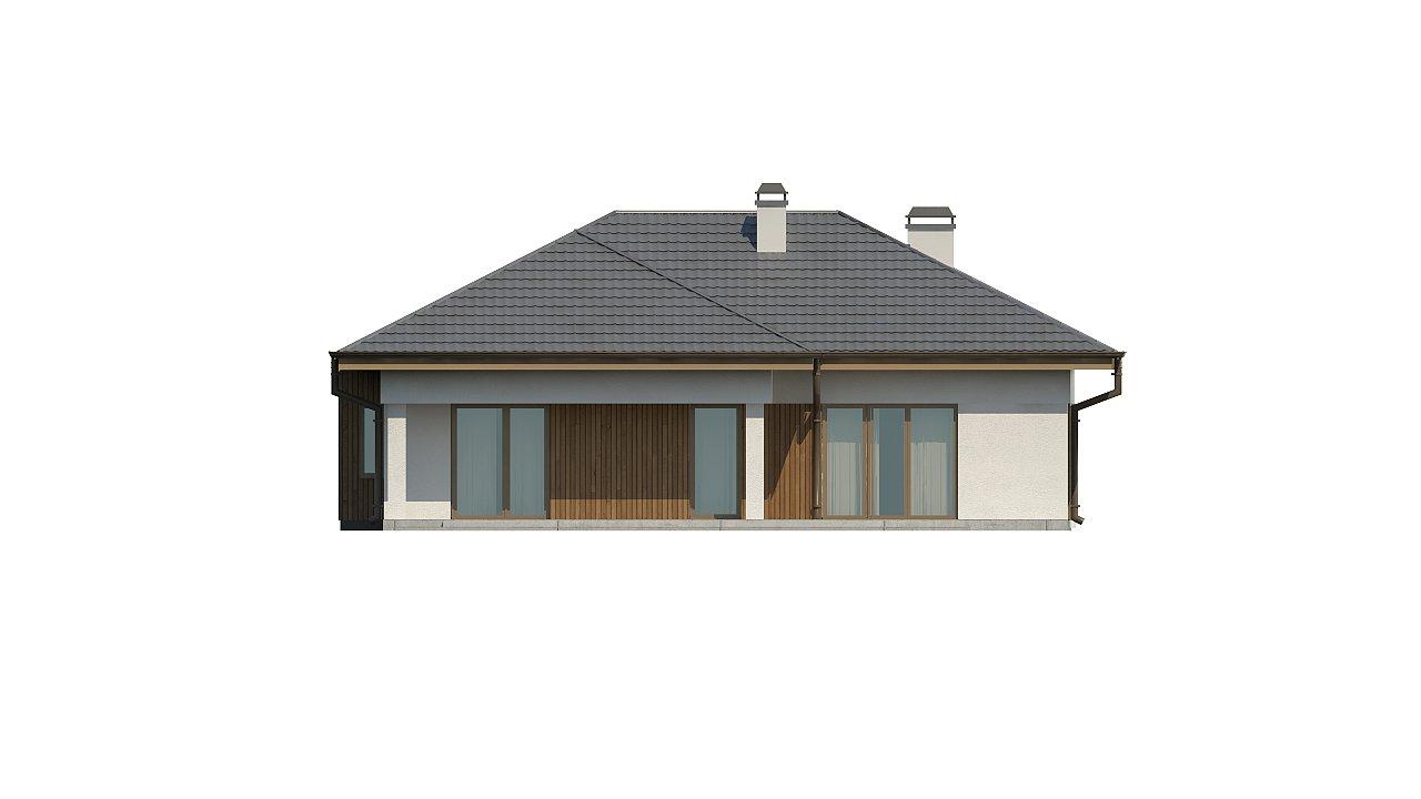 Одноэтажный дом с многоскатной крышей, с удобным функциональным интерьером. 12