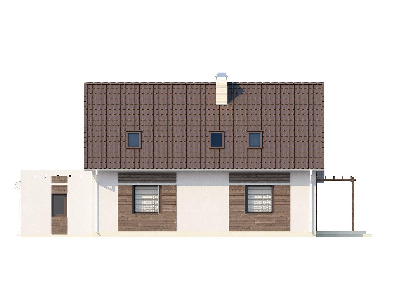 Проект дома с гостиной со стороны входа, боковой террасой и дополнительной спальней на первом этаже. 4