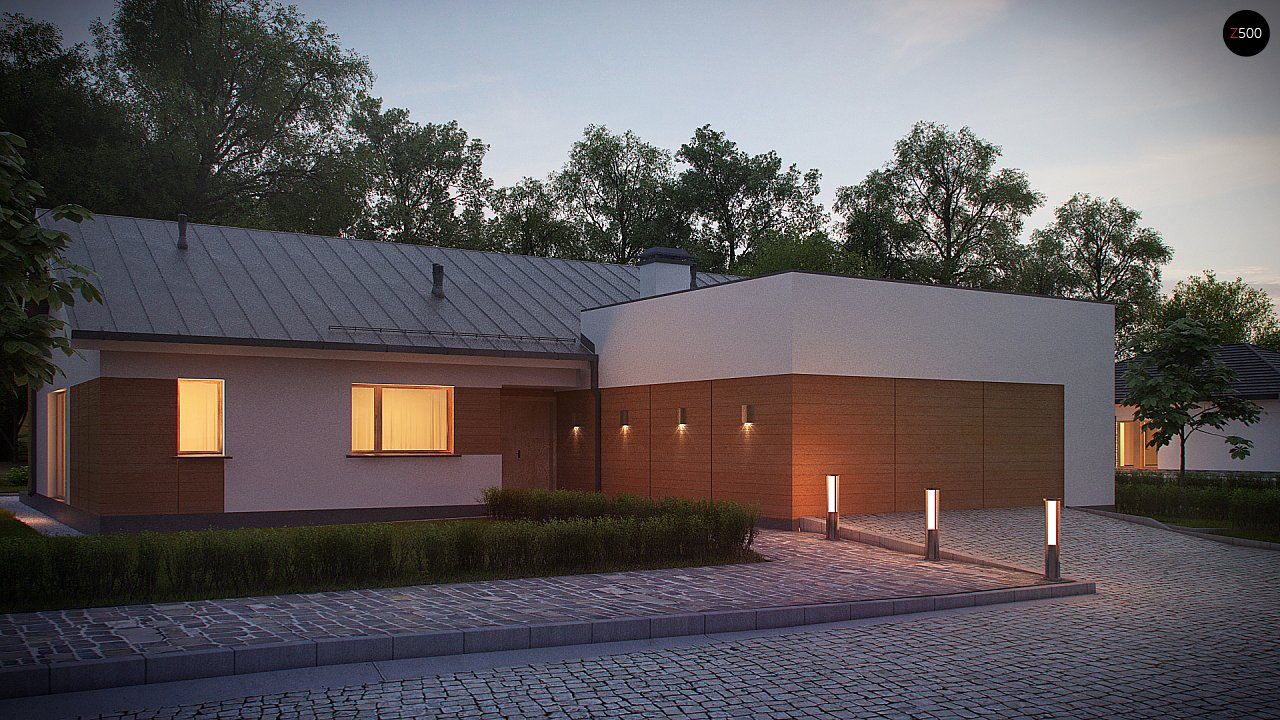 Комфортный функциональный одноэтажный дом простой формы и с гаражом для двух авто. 6