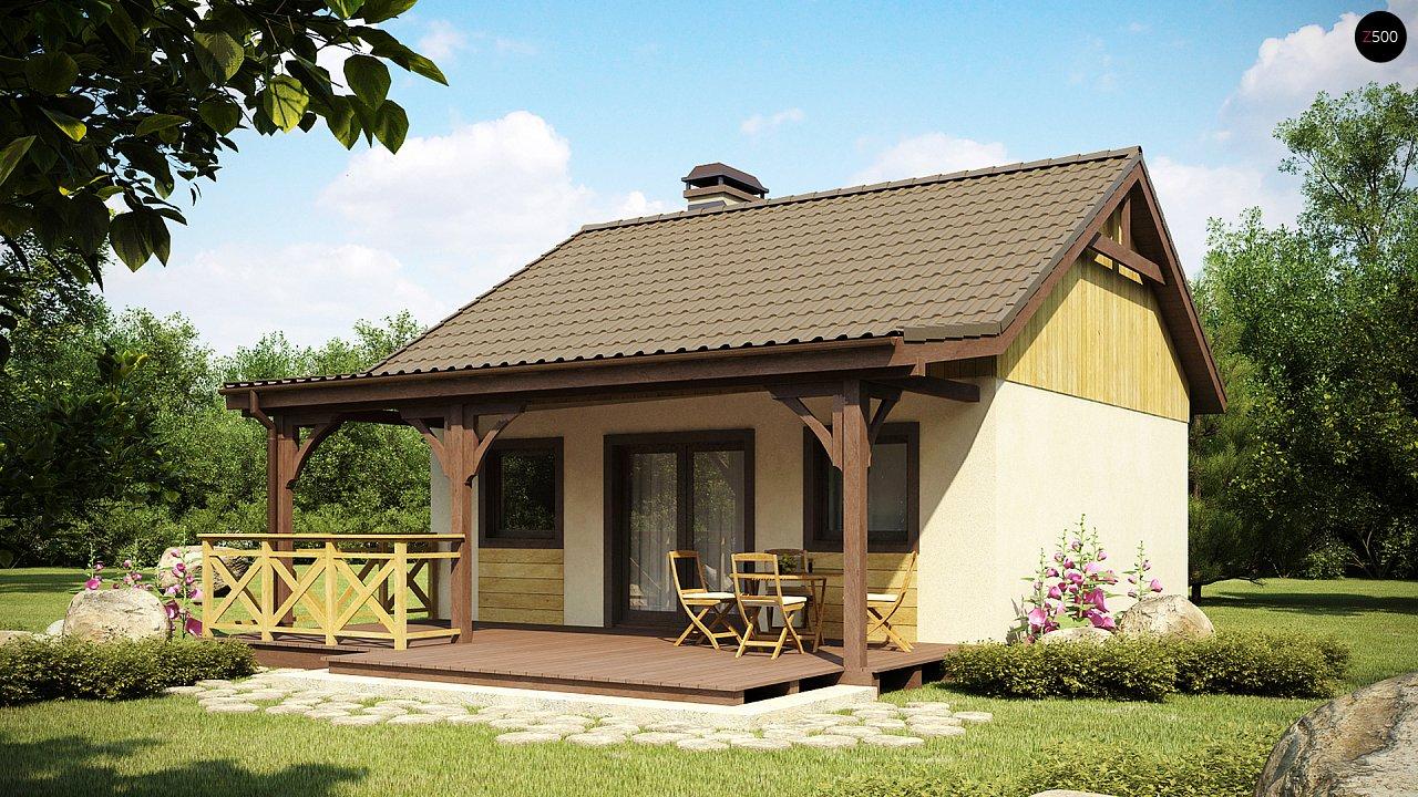 Выгодный в строительстве и эксплуатации маленький одноэтажный дом с крытой террасой. 2