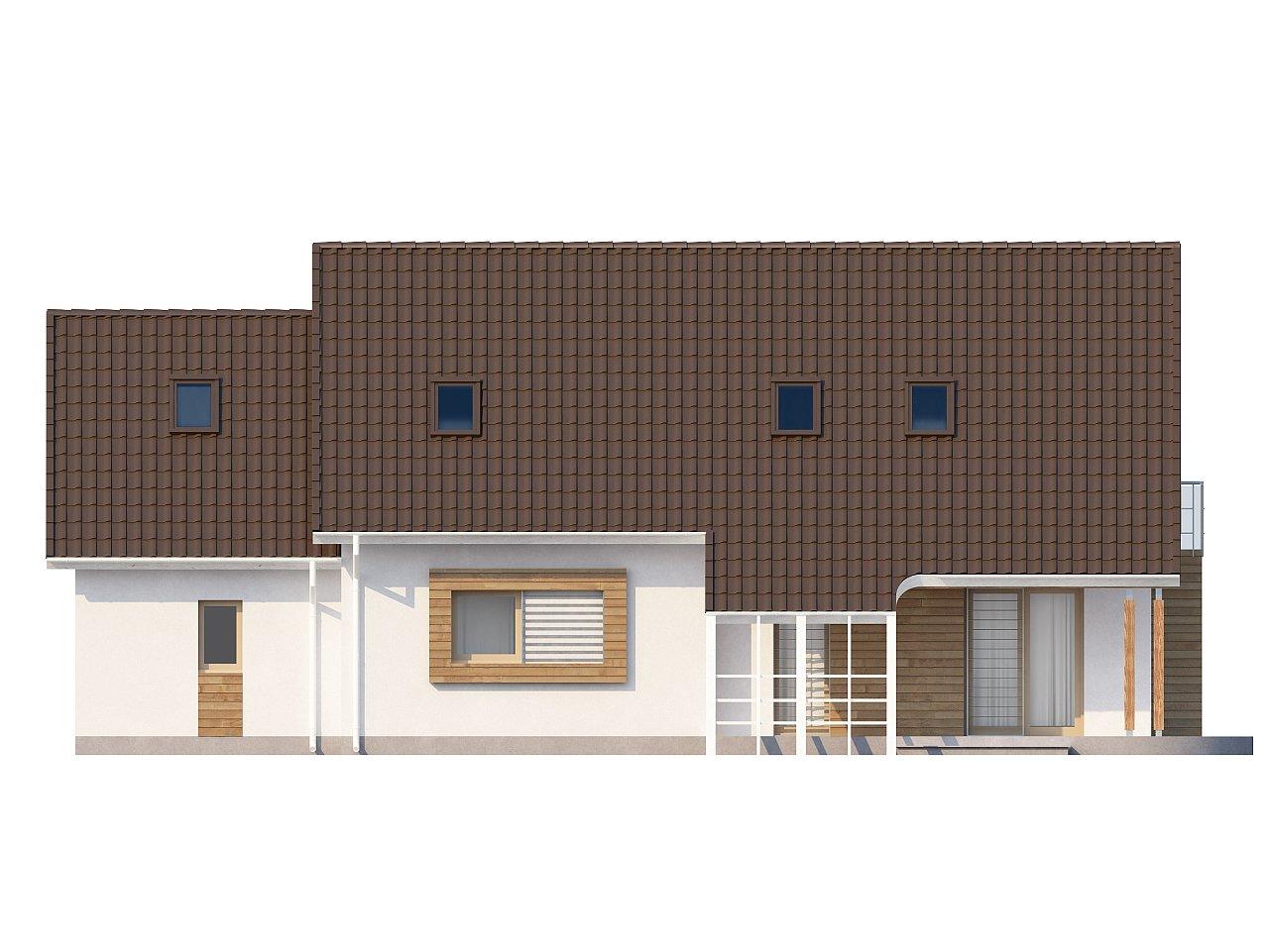 Проект просторного функционального дома с мансардой, гаражом для одной машины и дополнительной спальней на первом этаже. 4