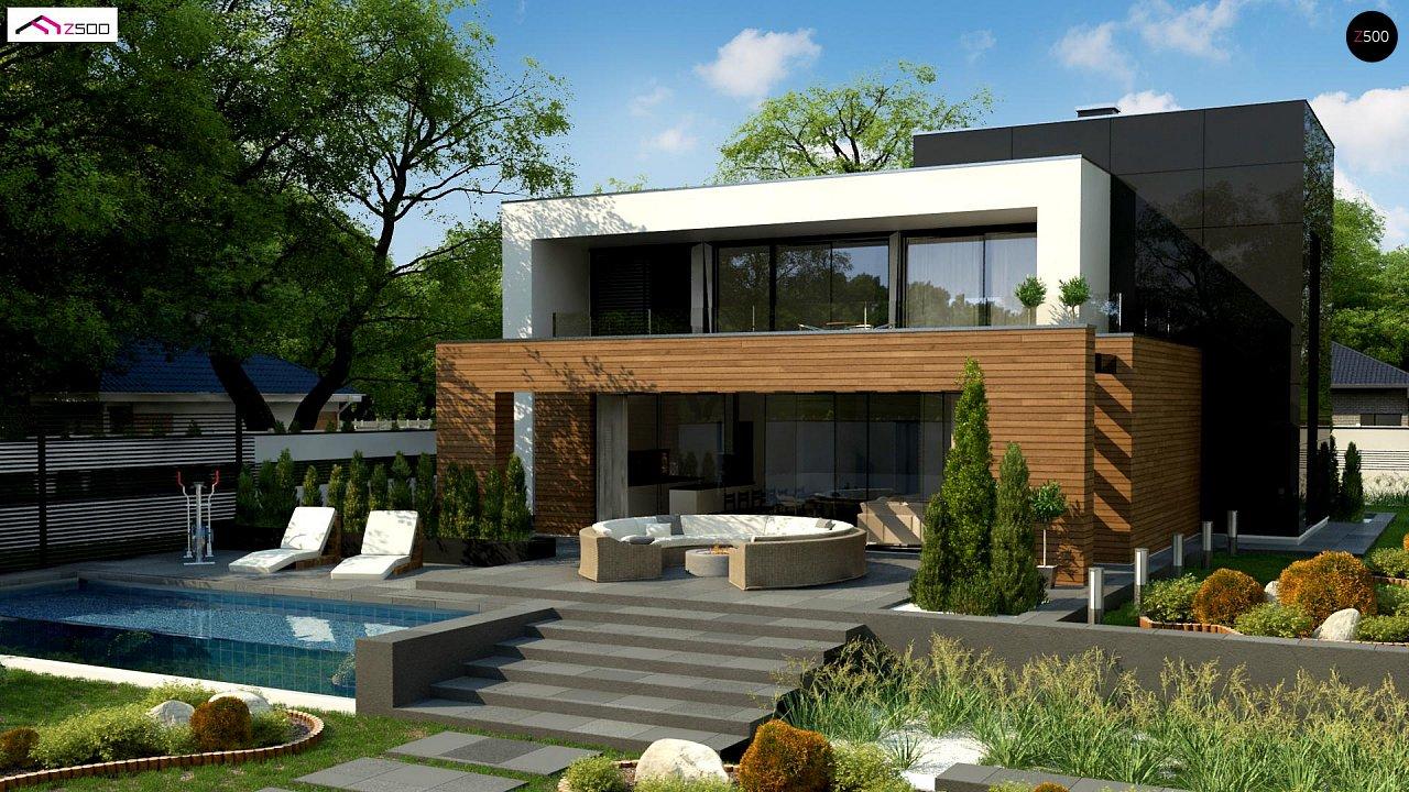 Двухэтажный коттедж с плоской крышей и большой террасой 2
