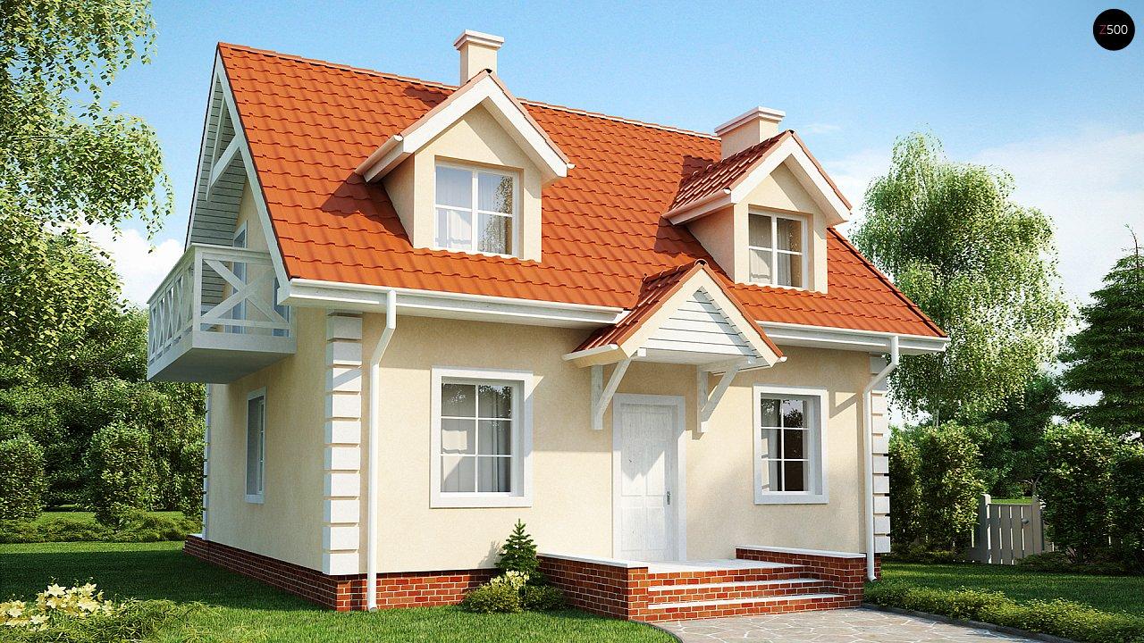 Компактный дом в традиционном стиле с двускатной крышей и красивыми мансардными окнами. - фото 1