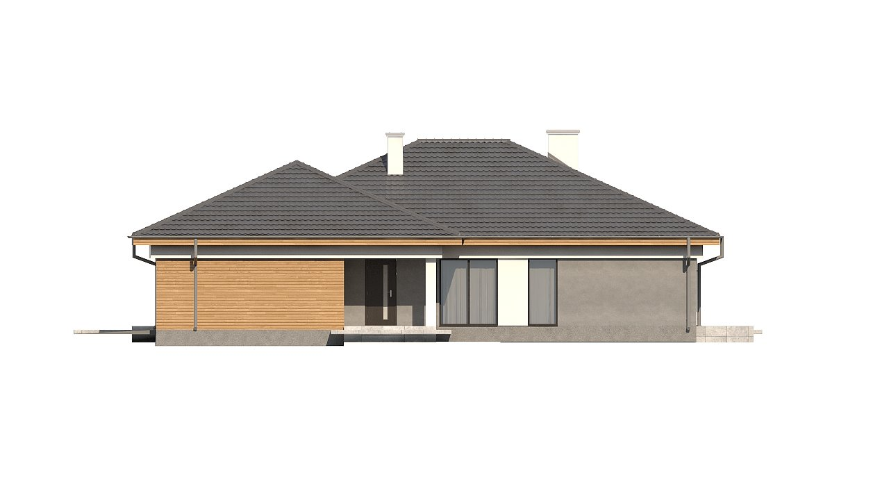 Одноэтажный просторный дом с эркером и крытой террасой. 17