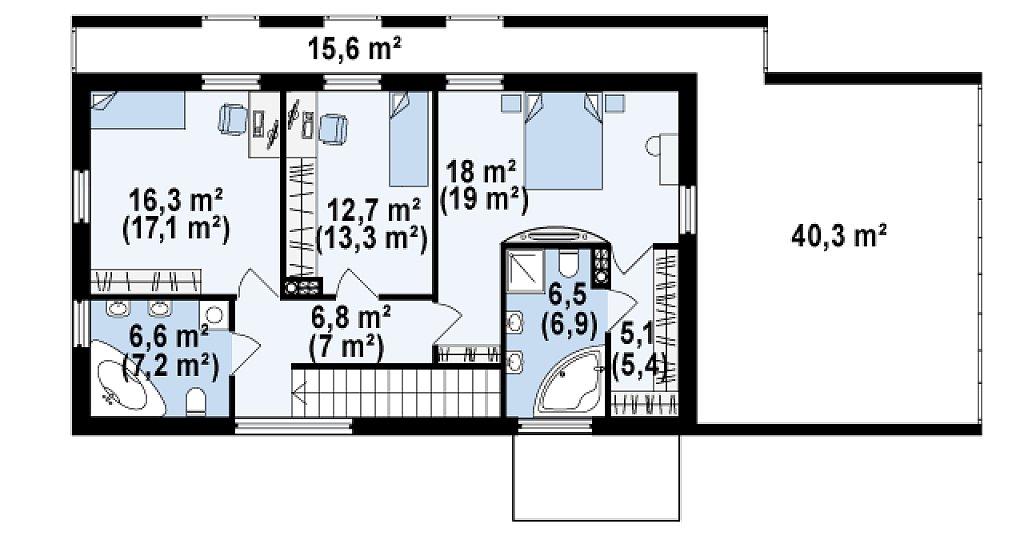 Дом современного простого дизайна. Продольная форма, уютный комфортный интерьер. план помещений 2