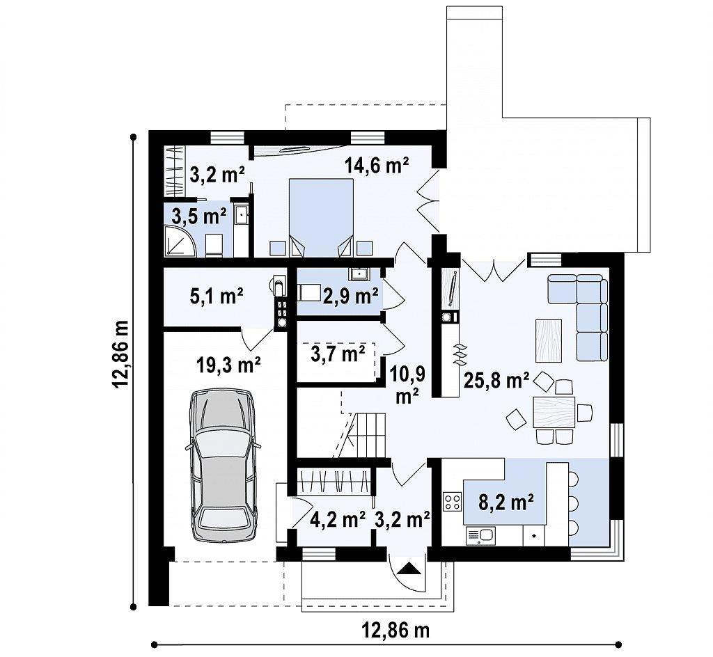 Уменьшенный вариант двухэтажного проекта ZX46 с гаражом план помещений 1