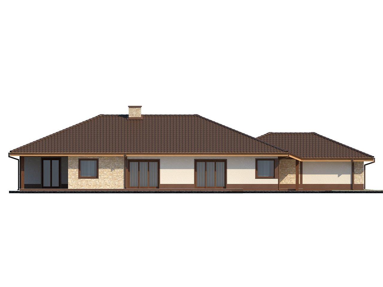 Комфортабельный одноэтажный дом для продольного участка с большим гаражом, с возможностью обустройства мансарды. 6