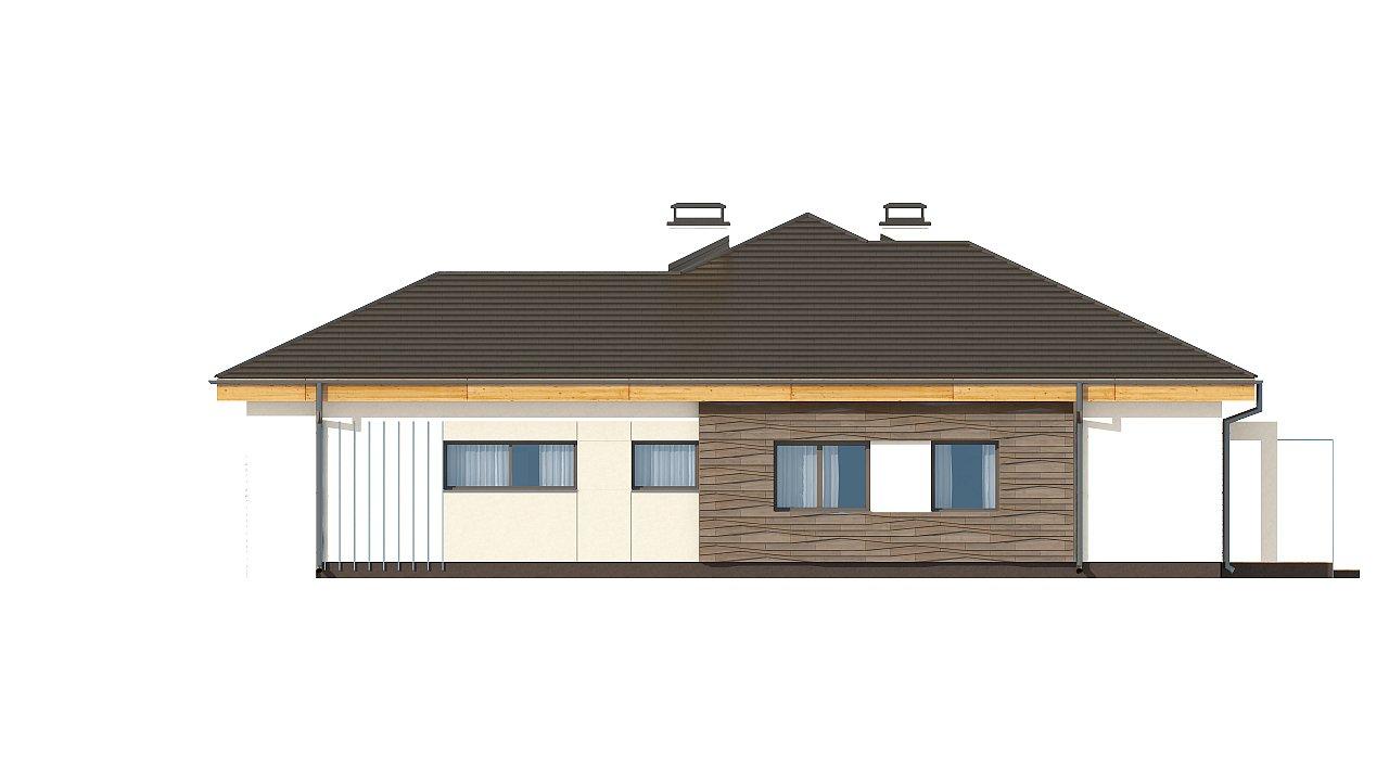 Проект одноэтажного дома с фронтальным выступающим гаражом и возможностью обустройства мансарды. 12