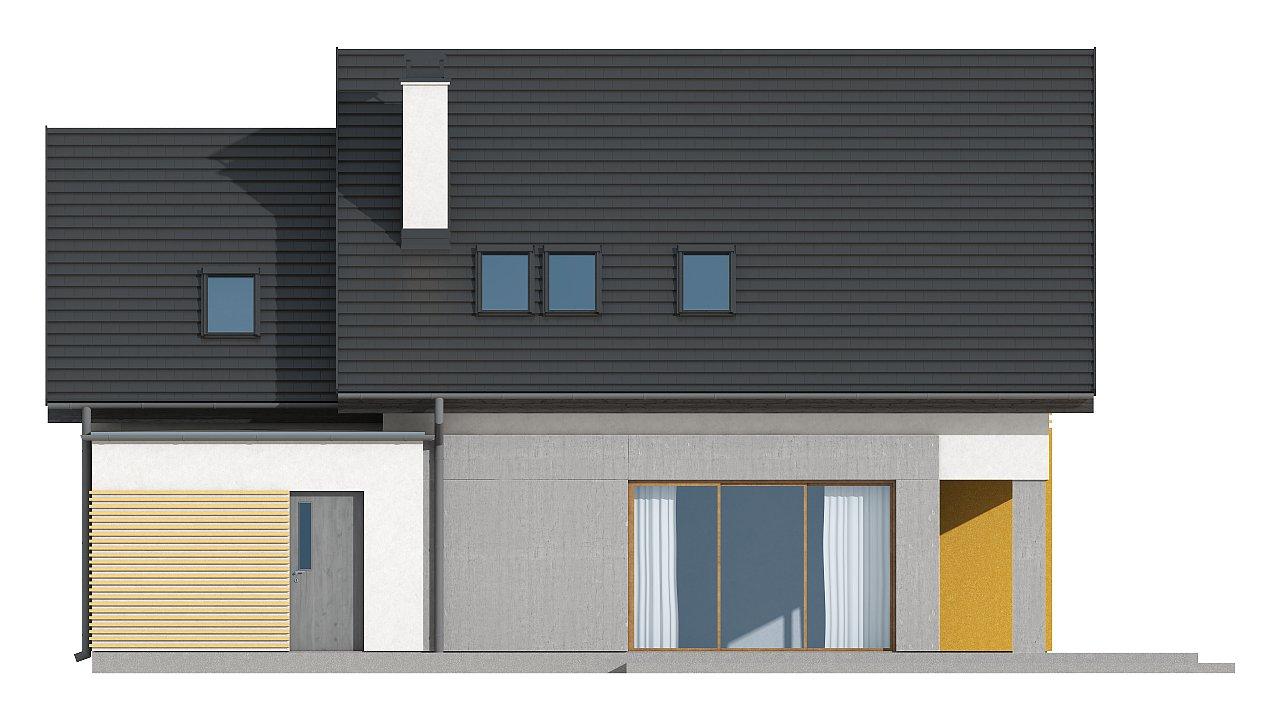Проект аккуратного мансардного дома, с современным дизайном фасадов. 17