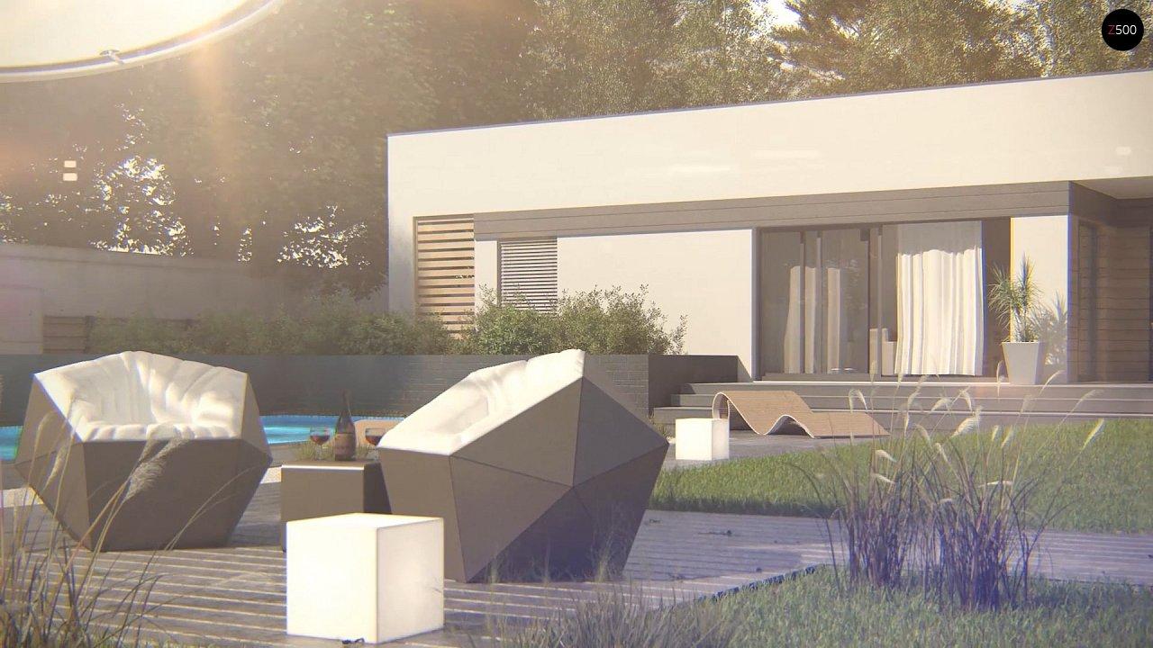 Современный одноэтажный дом хай-тек с навесом для автомобиля 4