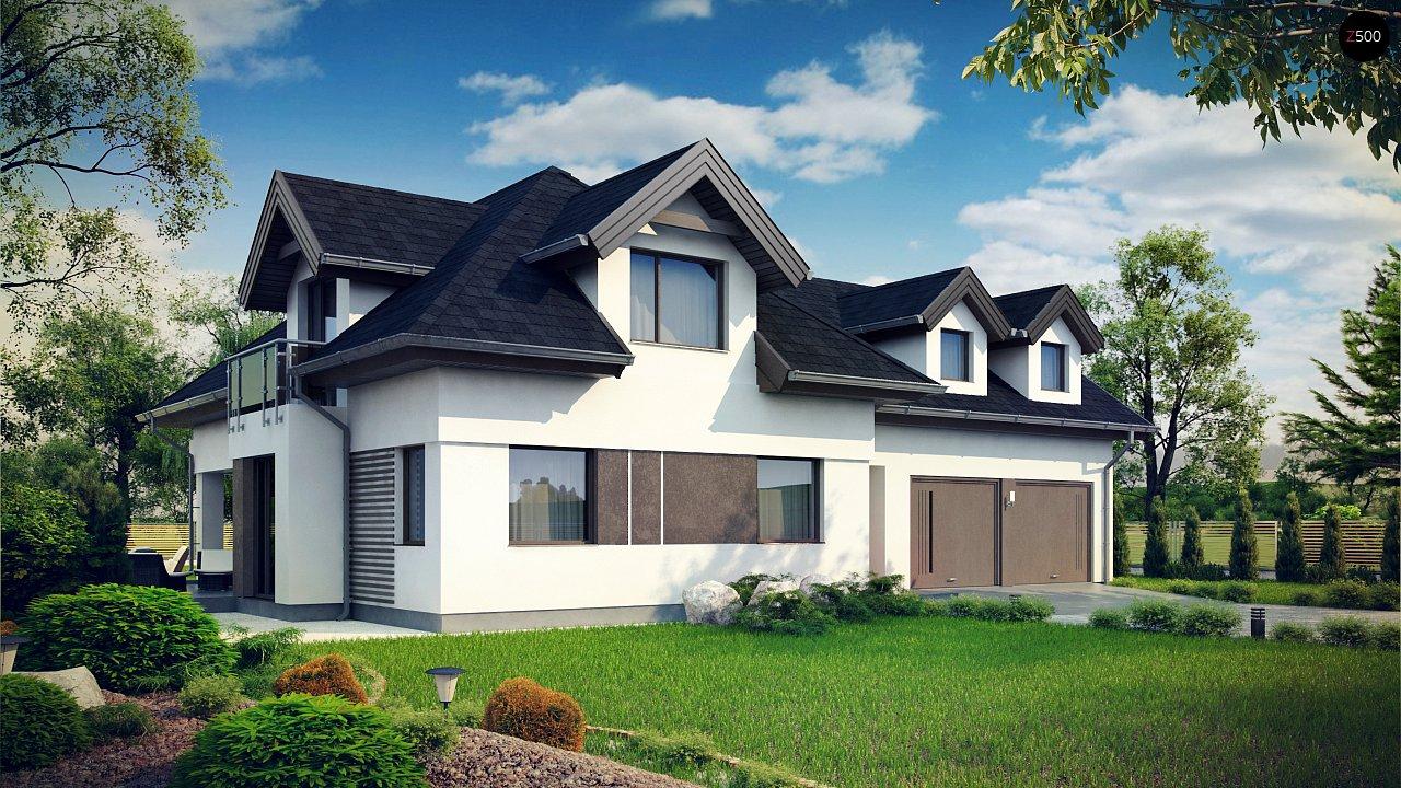 Комфортабельный дом с интересными фасадными окнами, с гаражом на два авто. 2