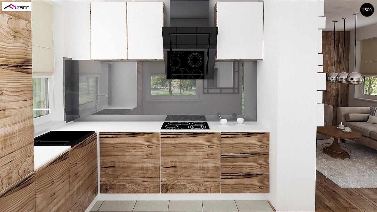 Вариант проекта Z39 c деревянными фасадами и гаражом расположенным с левой стороны. 8