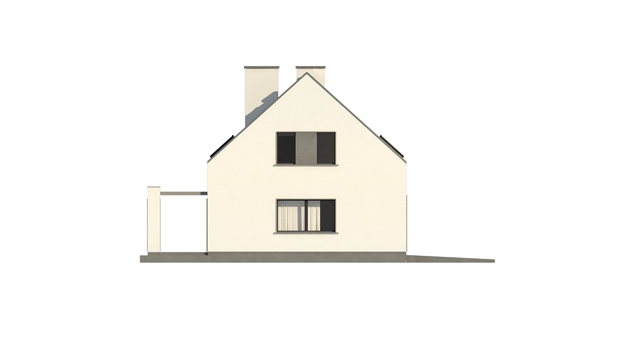 Проект мансардного с тремя спальнями и двускатной крышей 9