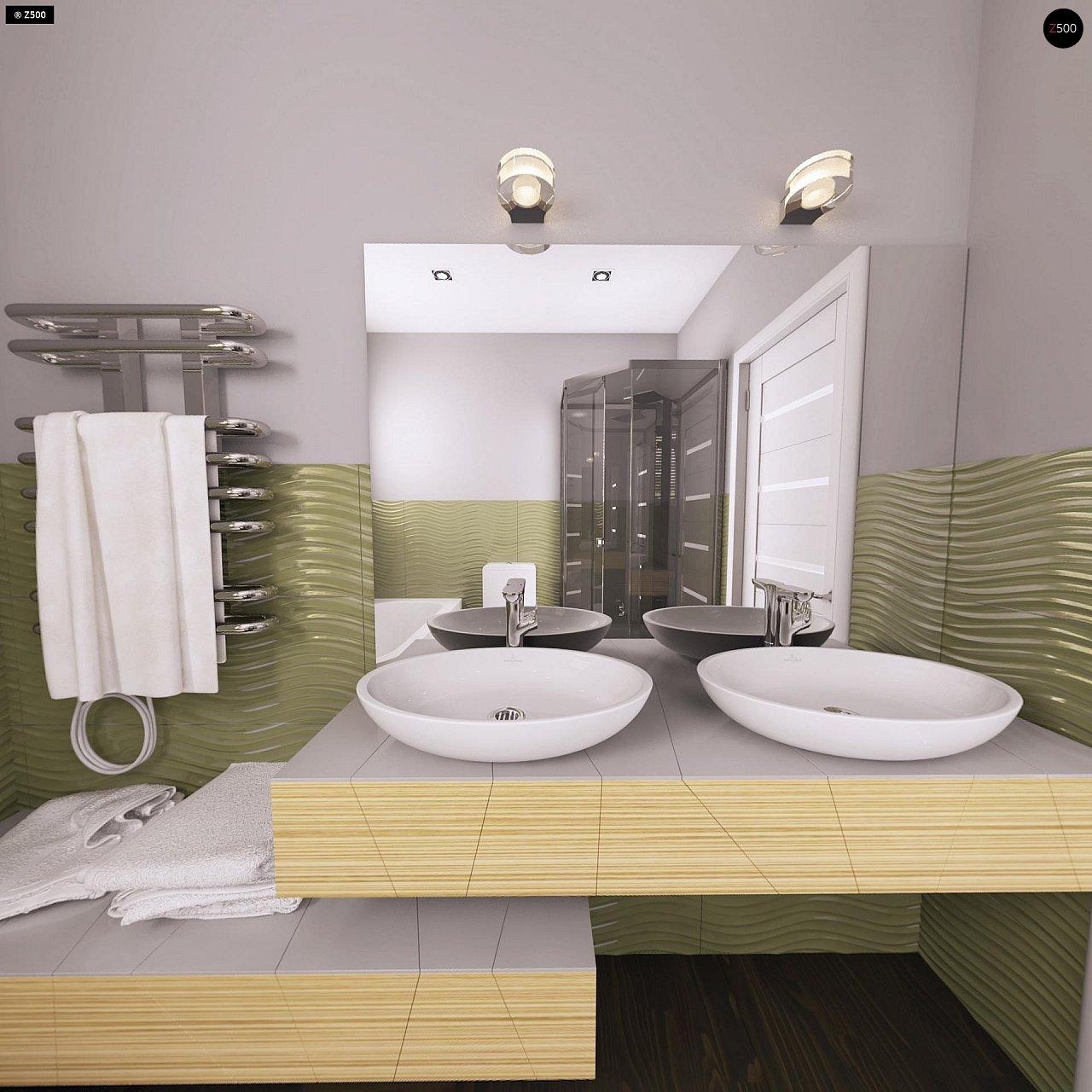 Дом традиционной формы с современными архитектурными дополнениями. Свободная планировка мансарды и антресоль над гостиной. 13