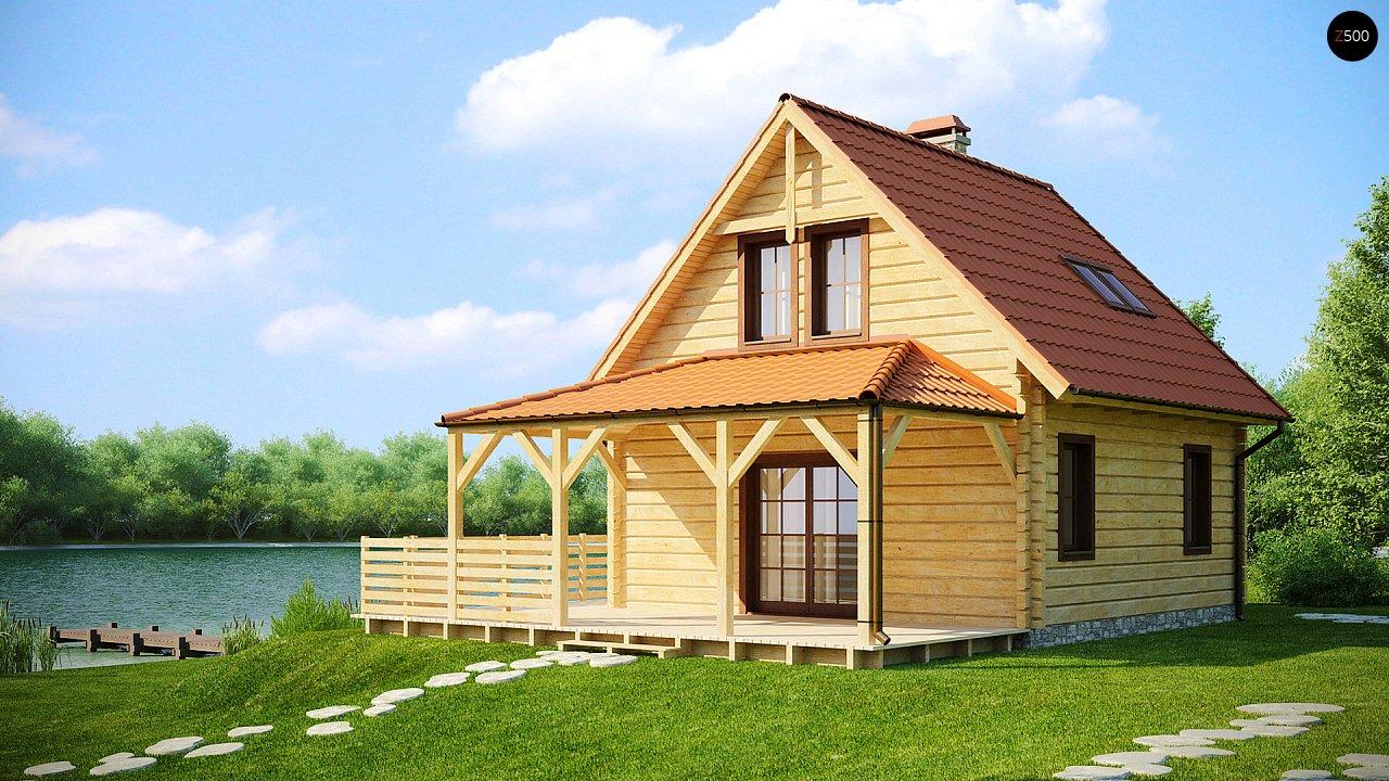 Проект небольшого дома с мансардой, с крытой боковой террасой. - фото 2