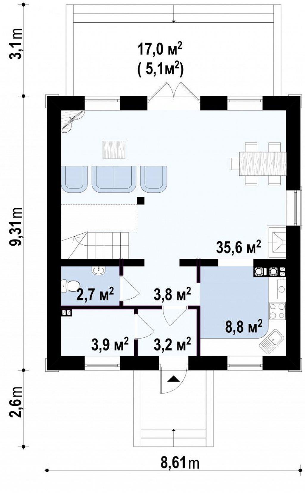 Очаровательный и практичный дом с мансардой в традиционном стиле. план помещений 1