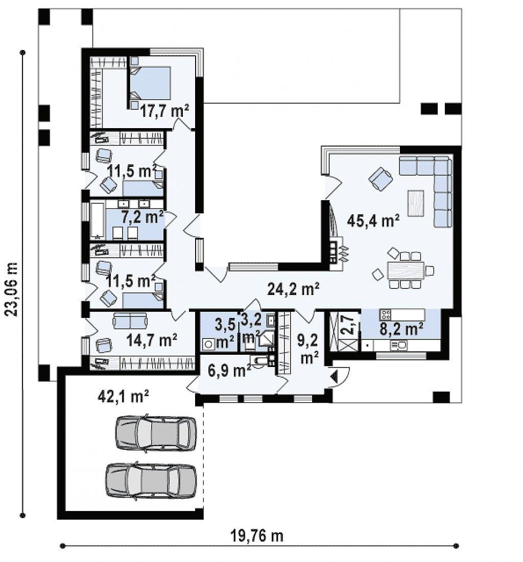 Одноэтажный дом с плоской кровлей и террасой план помещений 1