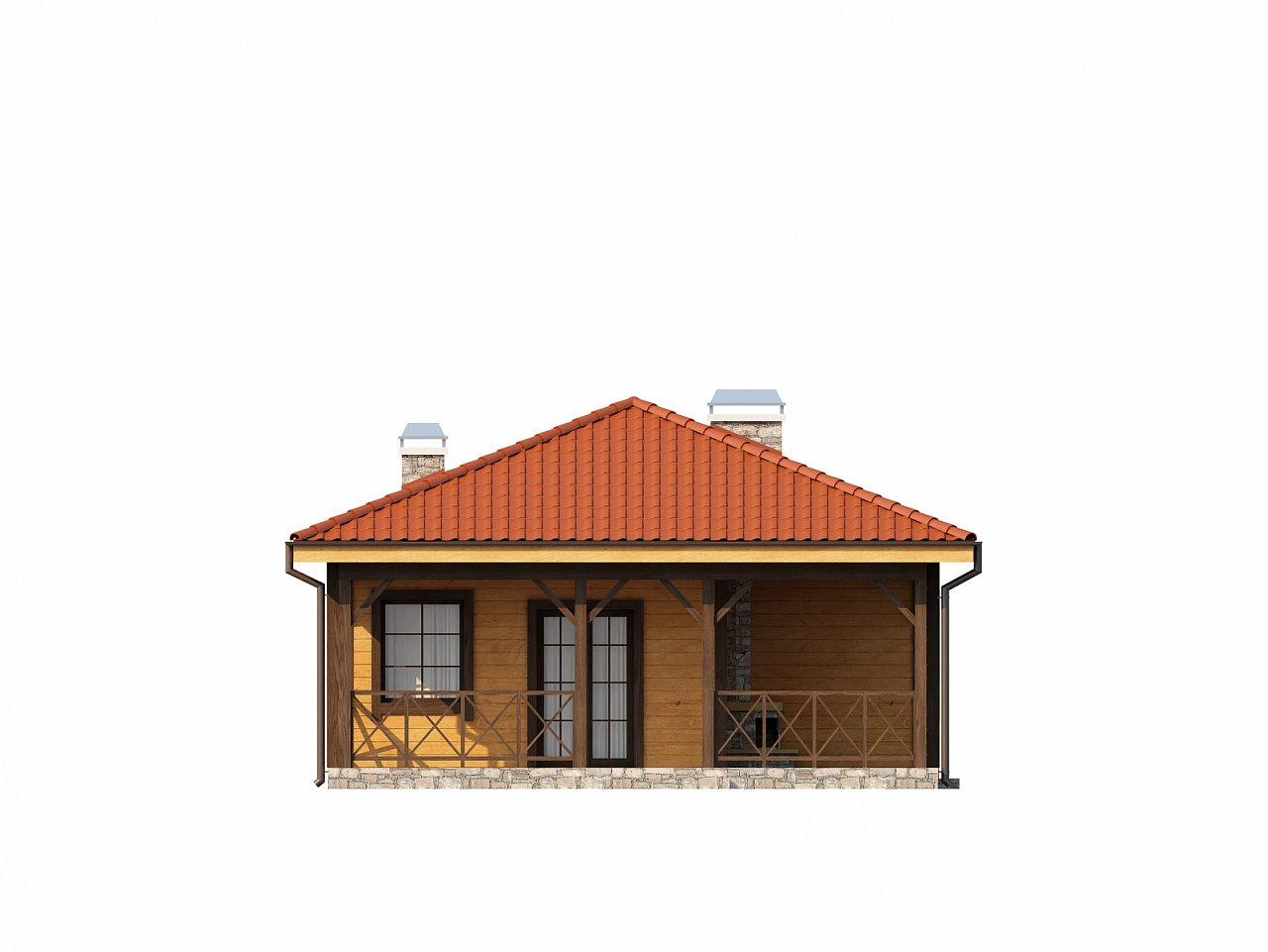 Аккуратный одноэтажный дом с деревянной облицовкой фасадов, адаптированный для каркасной технологии. 14