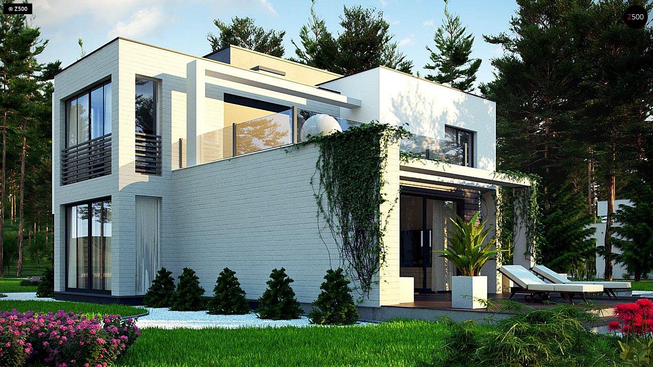 Двухэтажный дом в стиле минимализм - вариант проекта ZR 17 5