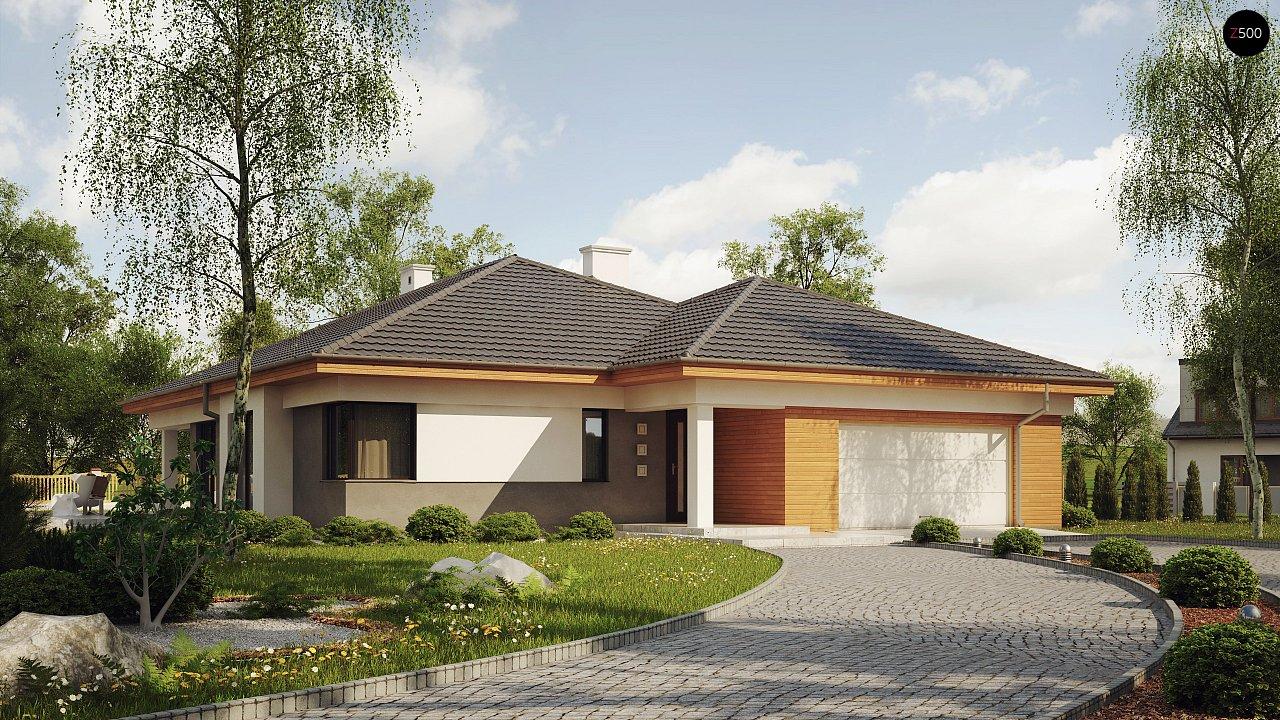 Одноэтажный просторный дом с эркером и крытой террасой. 1