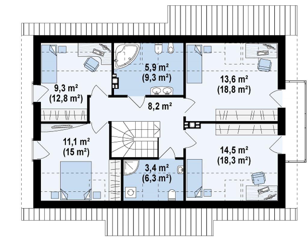 Версия проекта Z178 с дополнительной комнатой на первом этаже. план помещений 2