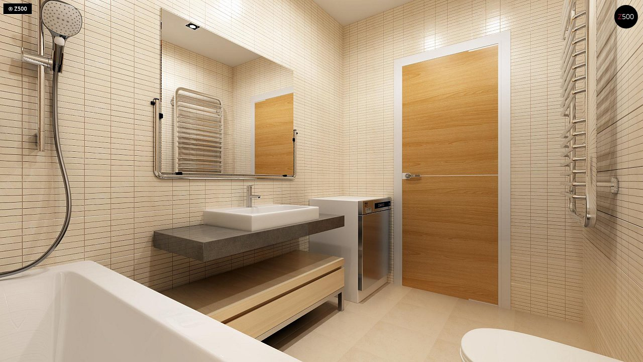 Компактный одноэтажный дом простой формы с возможностью обустройства чердачного помещения. 16
