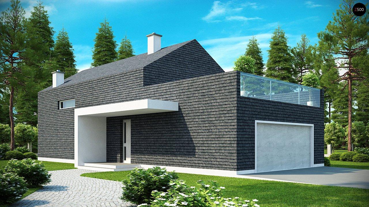 Современный эксклюзивный дом с каменной облицовкой, подходящий для узкого участка. 1