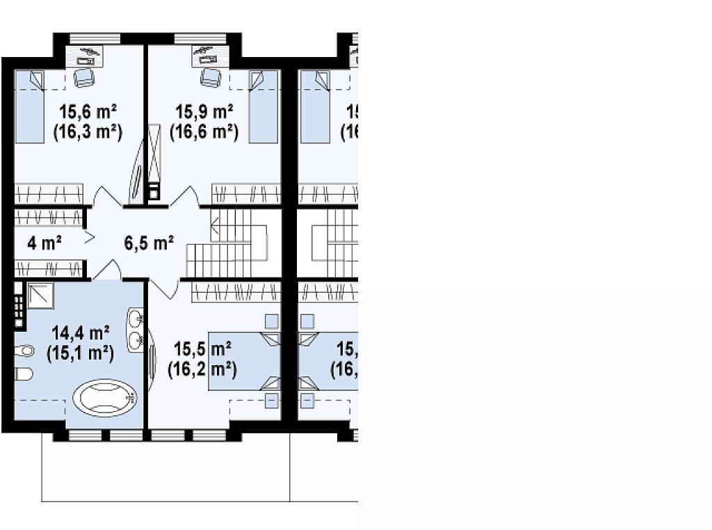 Дома близнецы стильного современного дизайна. план помещений 2