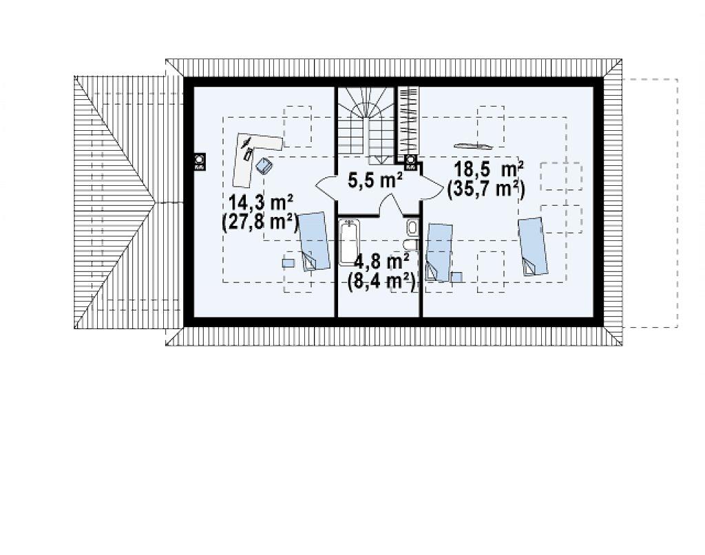 Просторный дом в традиционном стиле с двумя спальнями на мансарде. план помещений 2
