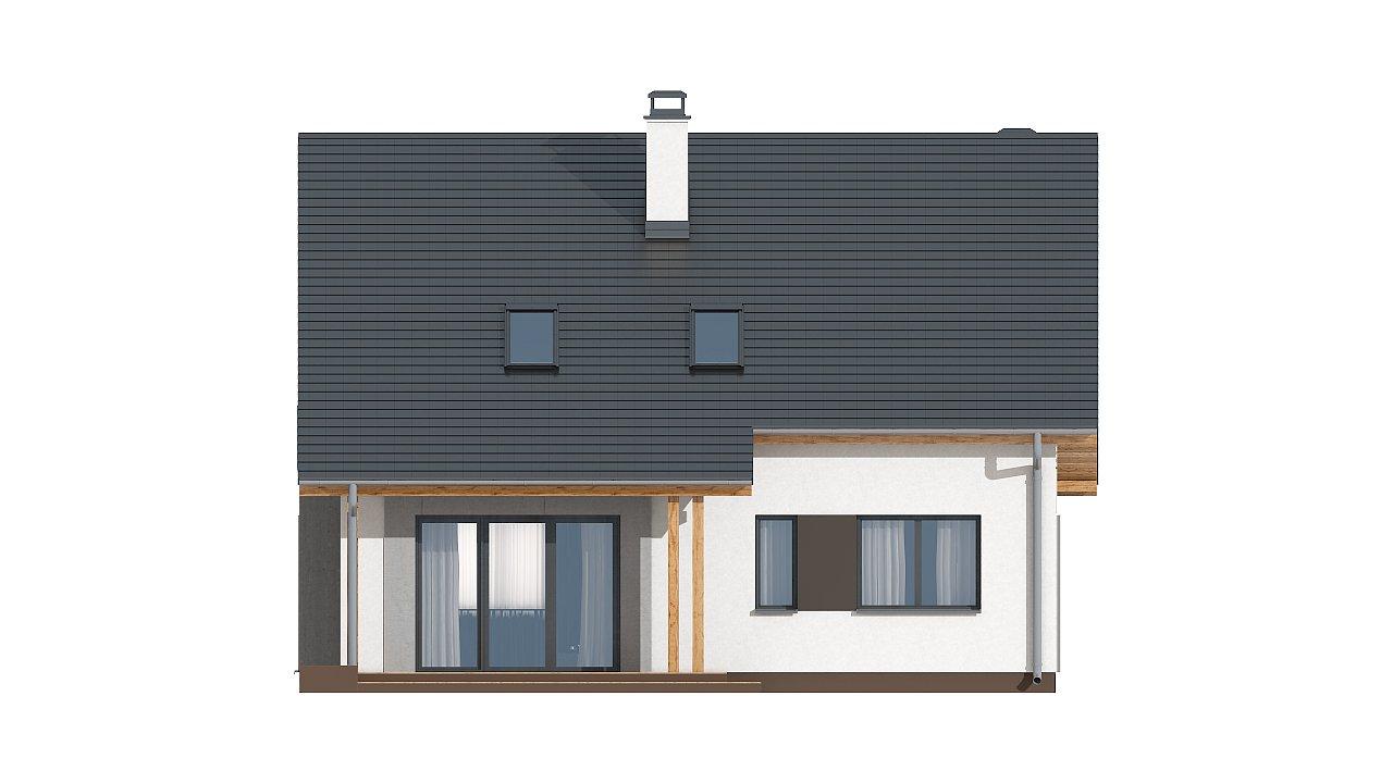 Проект практичного дома с большим хозяйственным помещением, с кабинетом на первом этаже. 17