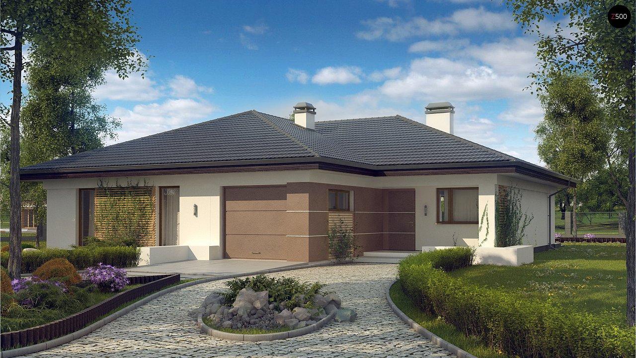 Проект одноэтажного дома с многоскатной крышей и гаражом на одну машину. - фото 1