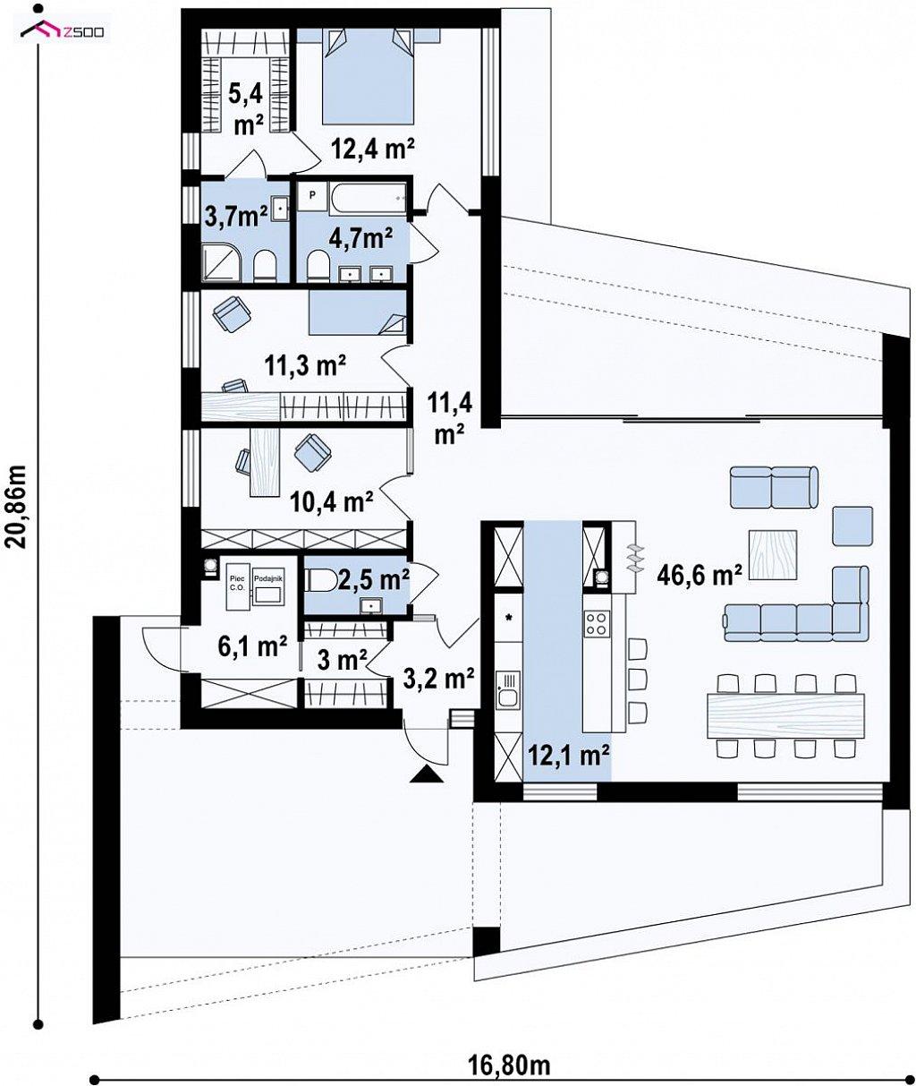 Современный одноэтажный дом с навесом для автомобиля план помещений 1