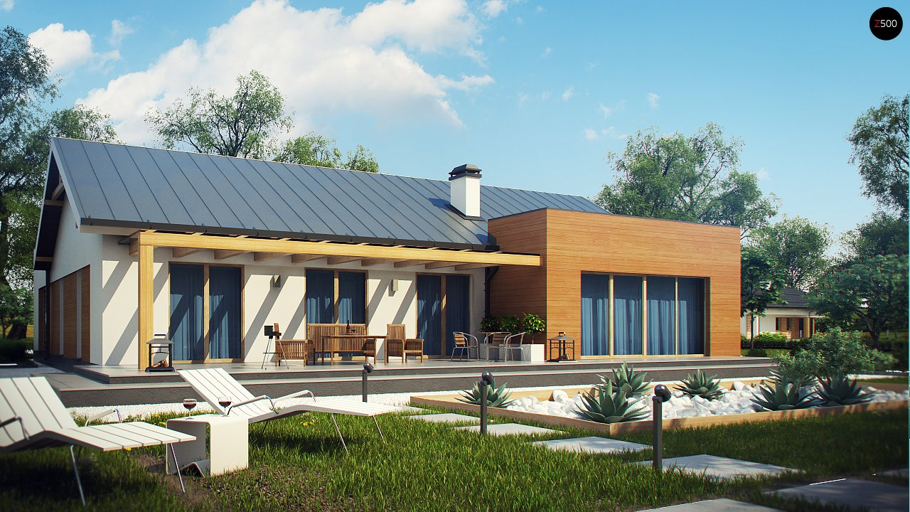 Комфортный функциональный одноэтажный дом простой формы и с гаражом для двух авто. 2
