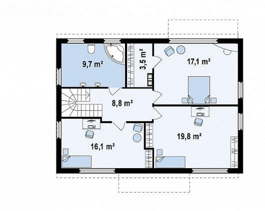 Одна из версий проекта компактного двухэтажного дома zx11 план помещений 2