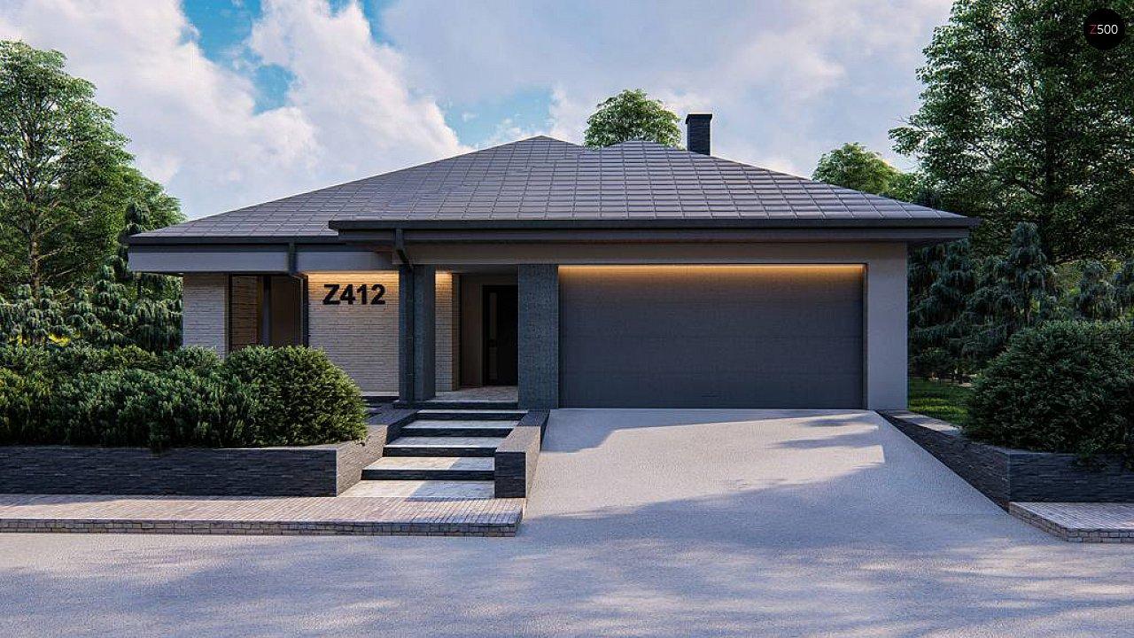 Современный одноэтажный проект дома с многоскатной крышей и гаражом на две машины - фото 4