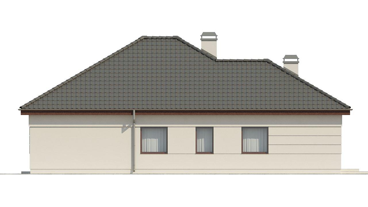 Просторный одноэтажный дом с многоскатной крышей, угловым окном и угловой террасой в дневной зоне. 24